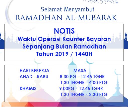 Notis Kaunter Bayaran JAINJ Sepanjang Ramadhan