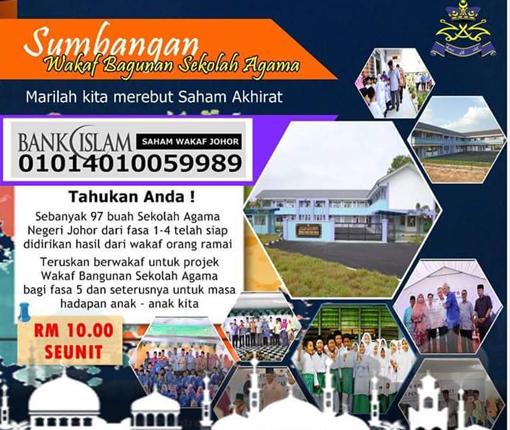 Sumbangan Wakaf Bangunan Sekolah Agama Negeri Johor